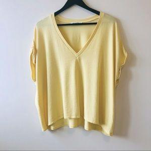 Aritzia Wilfred Yellow Brosh Knitted T-shirt